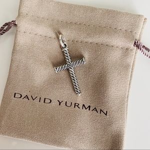 David Yurman Silver Cable Cross Pendant 39mm